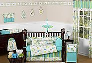 Turquoise Blue and Lime Green Layla Floral Baby Girl Bedding 9pc Flower Crib Set