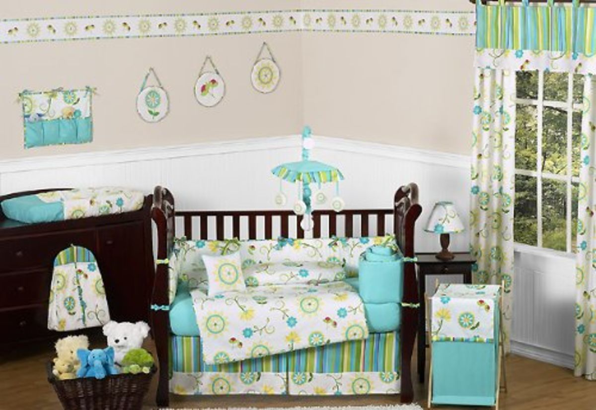 Headline for Turquoise Baby Girl Crib Bedding