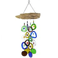 Recycled Wine Bottle Glass Windchime on Driftwood