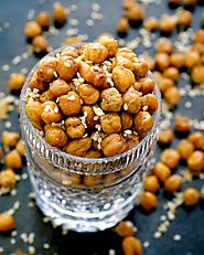 Sesame Garlic Roasted Chickpeas