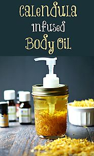 Calendula Infused Bath & Body Oil (Free Printable Labels) - My Life Cookbook