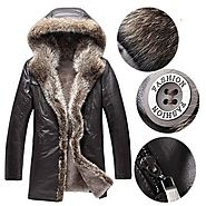 Cwmalls Mens Hooded Raccoon Fur Trim Sheepskin Coat