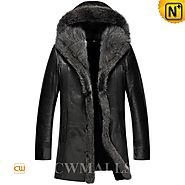 Mens Hooded Black Fur Coat CW855309 - cwmalls.com