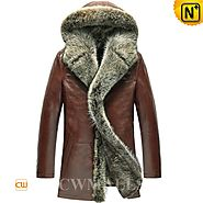 Mens Hooded Fur Leather Coat CW855303 - cwmalls.com