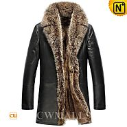 Mens Black Raccoon Fur Coat CW857367 - cwmalls.com