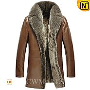 Mens Brown Fur Coat CW857368 - cwmalls.com