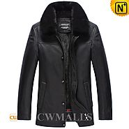 Mink Fur Lined Leather Coat CW857332 - cwmalls.com