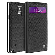QIALINO Mini Window Water Wave Pattern Leather Case For Samsung Galaxy Note 4 Without Smart Feature - Qialino