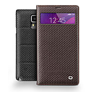 QIALINO Mini Window Grid Pattern Leather Case For Samsung Galaxy Note 4 Without Smart Feature - Qialino