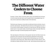 The Different Water Coolers to Choose From