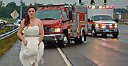 This badass paramedic raced to the scene of a crash in the middle of her wedding.