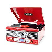 Pyle PTR8UR Retro Turntable with Vinyl-to-MP3 Encoding, USB & SD Memory Card Readers, AM/FM Radio, Aux (3.5mm) Input,...