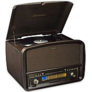 Electrohome Signature Vinyl Record Player Classic Turntable Natural Wood Hi-Fi Stereo System with AM/FM, CD, USB for ...