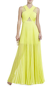 Cheap Caia Yellow BCBG V-Neck Chiffon Pleated Long Bodice Evening Gown [2014 BCBG Long 0065 Yellow] - $180.00 : BCBG ...