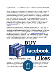 Buy Facebook Likes and Shoot Up Your Page Popularity Overnight
