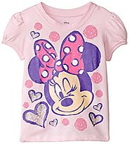 Disney Little Girls' Minnie Mouse Wink Girls Puff Sleeve T-Shirt, Pink, 4T