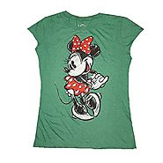 Disney Minnie Mouse Womens Tee Shirt Polka Dot Retro Green