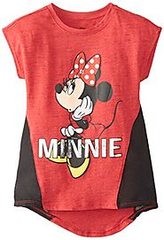 Disney Big Girls' Minnie Mouse Space Dye Top with Chiffon Inserts