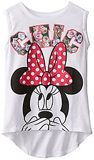 Disney Big Girls' Minnie Mouse Chic Jersey Drapey Hi-Low Top with Roll Cuff
