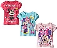 FREEZE Little Girls' Disney Minnie Mouse Toddler Girl Tee 3-Pack, Assorted, 2T
