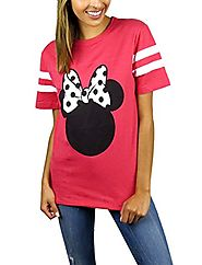 Disney Womens Minnie Mouse Varsity Football Tee Large Red Heather