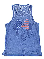 Disney Women's Slim Minnie Flag Bow Racerback Tank Top Medium