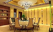Chinese Dining Room Decor With Crystal Chandelier Lighting