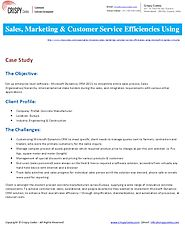 Sales, Marketing & Customer Service efficiencies using MS Dynamics CRM