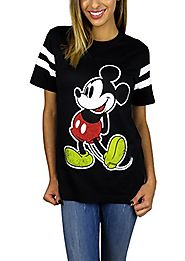 Disney Womens Mickey Mouse Varsity Football Tee Black