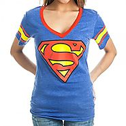 DC Comics Superman Logo Deep V-Neck Striped Sleeves Juniors Royal Blue T-shirt (Juniors Large)