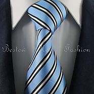 Buy Blue & Silver Striped Tie Set / Formal Business Tie Set Online Canada