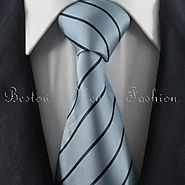 Cyan & Black Striped Tie Set / Formal Business Tie Set