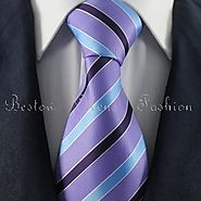 Orchid-Blue & Black Striped Tie Set / Formal Business Tie Set