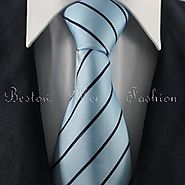 Turquoise & Black Striped Tie Set / Formal Business Tie Set