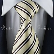 Buy Light Gold-White Striped Tie Set / Formal Business Tie Set Online Canada