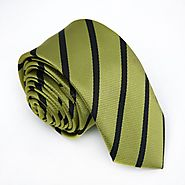 Olive Green & Black Striped Skinny Tes - College Ties