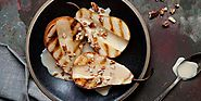 Grilled Bosc Pears with Toasted Pecans and Maple Whiskey Cream Sauce