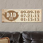 Dad EST. Wood Canvas