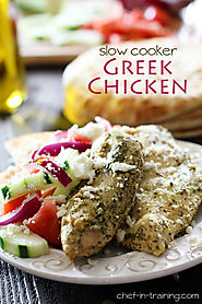 Slow Cooker Greek Chicken because we love Greek food!