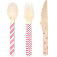 Stamped Wooden Cutlery Pink Pkg/18 - Kitchen Things