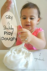 Silky and stretchy play dough using 2 ingredients - Laughing Kids Learn