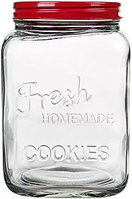 Classic Glass Cookie Jar with Red Lid, 94 oz Capacity