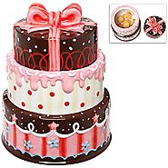 Gourmet 3 Layer Cake Design Ceramic Cookie / Biscuit / Snack Storage Jar Canister with Lid - MyGift®