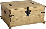 Corona Double Storage Chest - Coffee Table/Solid Pine - Distressed Waxed Finish