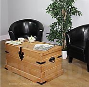 WorldStores Corona Pine Storage Chest - Elegant Waxed Pine - Metal Features - Coffee Table