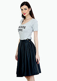 Bad Girl Black Leather Midi Skirt
