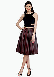 Magic Marsala Leather Midi Skirt