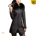 Black Quilted Sheepskin Leather Coat Women CW613039