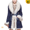 Women Blue Fur Trimmed Sheepskin Coat CW601050