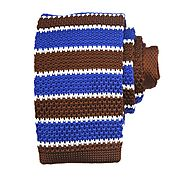 Brown & Blue & White Horizontal Knitted Ties